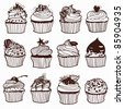 hand-drawn pictures of cupcakes - stock vector