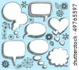 Hand-Drawn Sketchy 3-D Shaped Comic Book Style Speech Bubbles- Notebook Doodles on Blue Lined Paper Background- Vector Illustration - stock vector