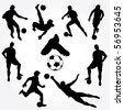 Hand Drawn Soccer Players Silhouette - stock vector