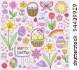 Happy Easter Notebook Doodles Vector Design Elements Set with Daffodils, Bunny, Eater Eggs, and Chicks on Lined Sketchbook Paper Background - stock vector