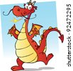 Happy Smiling Red Dragon Cartoon Character - stock vector
