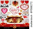 Happy Valentines Day, Love vector set; Abstract, vintage, Christmas, retro hearts and ornaments for design; Antique, art banner, frame, card, label, greetings and invitation for marriage and wedding - stock vector