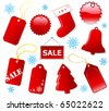 Holiday shopping red tags and label, icons set. Christmas. Vector EPS10 - stock vector