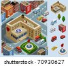 Hospital Area. Set of very detailed isometric vector - stock vector