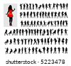 Hundred black female silhouettes on a white background. - stock vector
