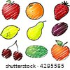 Illustration of fruits, hand-drawn look rough sketchy coloring - stock vector
