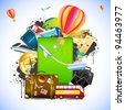 illustration of traveling element like bus,train,hot air balloon and ticket around baggage - stock vector