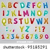 joyful sticker font - letter from A to Z and numbers - stock vector