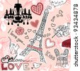 LOVE in Paris doodles - stock vector