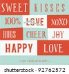 Love letterpress Card - stock vector