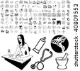 Medical set of black sketch. Part 101-2. Isolated groups and layers. - stock vector
