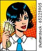 Pop Art Business Woman with money in hand. Vintage Comic Background - stock vector