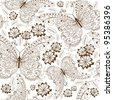 Repeating white floral pattern with vintage brown butterflies and flowers (vector) - stock vector