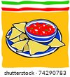 Retro Fiesta Chips and Salsa Vector Illustration - stock vector