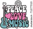 Retro -style illustration of a guitar, peace symbol and dove with the words Peace, Love and Music. Type style is my own design. - stock vector