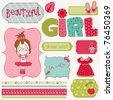 Scrapbook Girl Set - design elements - stock vector