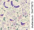 Seamless floral pattern with butterflies and dragonflies; vector format - stock vector
