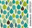 Seamless pattern on leaves theme, Autumn seamless pattern with leaf - stock vector