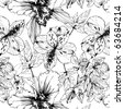 seamless pattern with black and white orchids - stock vector