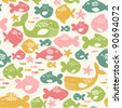 seamless pattern with colorful fishes - stock vector