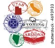 Series of a stamps for Utah, Wyoming, Arizona, Nevada, New Mexico, and California - stock vector