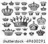 set of antique crown engravings, scalable and editable vector illustration - stock vector