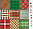 Set of Christmas plaids - stock vector