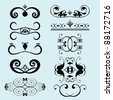 set of decorative ornament elements for frame and text - stock vector