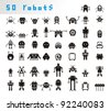 set of different stylized robots - stock vector