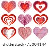 Set of drawings with the image of various hearts - stock vector