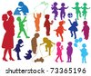 Set of hand drawn silhouettes of  children (kids) and mother and the baby, children play, dance, walk, give flowers, reflect. Vector illustration. - stock vector