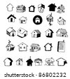 Set of Home Icon Hand Drawn - stock vector