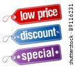 Set of  labels for discount sales. - stock vector