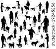 set of people with dogs - stock vector