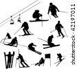 set of ski vector - stock vector