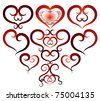 Set of vector drawings with the image of red hearts - stock vector
