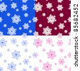 Set of winter seamless patterns with snowflakes. Vector illustration. - stock vector