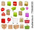 Shipping Box And Shopping Bags, Vector Illustration - stock vector
