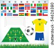Soccer vector set : soccer field, soccer ball, uniform, lawn all qualified teams flags-easy editable flat colors - stock vector