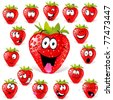 strawberry cartoon with many expressions - stock vector