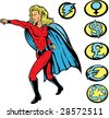 Superheroine punching, and any crests can be used. - stock vector