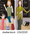 Teacher illustrations series.  1) Elementary class teacher examining a students. 2) English teacher teaching a grammar in a classroom. - stock vector