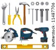 tool set vector - stock vector