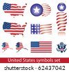 United States of America symbol set. Flag, map, seal, badge and person icon. - stock vector