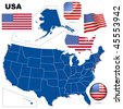 USA vector set. Detailed country shape with region borders, flags and icons isolated on white background. - stock vector