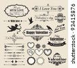 Valentine`s Day vintage design elements and letterning. - stock vector