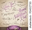 valentine's hand lettering set - 12 love themed handmade calligraphic inscriptions; scalable and editable vector illustration (eps8); - stock vector