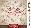 valentine's hand lettering set - 10 love themed handmade calligraphic inscriptions; scalable and editable vector illustration (eps8); - stock vector