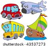 Various cartoon vehicles - vector illustration. - stock vector