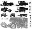vector agricultural vehicles silhouettes set - stock vector